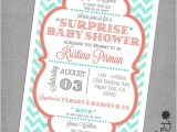 Coral and Teal Baby Shower Invitations Teal Chevron and Coral Baby Shower Invitations Printed
