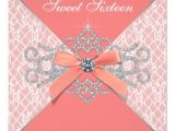 Coral Quinceanera Invitations Coral Diamonds Coral Sweet 16 Birthday Party Invitation