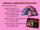 Cost Of Party Invitations Renz Creations Invitations and Giveaways Prices