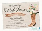 Country Chic Bridal Shower Invitations Cowboy Boot Rustic Bridal Shower Invitation Country Boho
