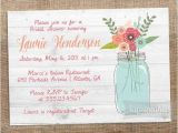 Country Chic Bridal Shower Invitations Rustic Mason Jar Invite Printable Bridal Shower