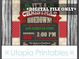 Country Christmas Party Invitations Christmas Hoedown Invitation Country Western or southern