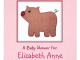 """Country Style Baby Shower Invitations Cute Country Style Pink Plaid Pig Baby Shower 5 25"""" Square"""