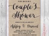 Couples Wedding Shower Invites Rustic Couples Shower Invitation Burlap Printable Shabby