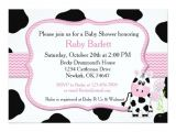 Cow Print Baby Shower Invitations Girl Cow Baby Shower Invitation with Chevron Print