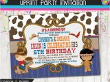 Cowboy and Indian Party Invitations Cowboys and Indians Party Invitation Cowboys Invite