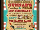 Cowboy and Indian Party Invitations Vintage Cowboy and Indians 1st Birthday Invitations Di