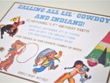 Cowboy and Indian Party Invitations where the Green Grass Grows Designs Vintage Cowboy and