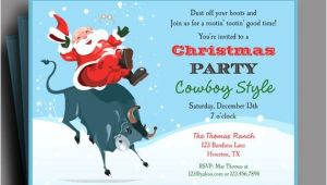 Cowboy Christmas Party Invitations Cowboy Santa Christmas Party Invitation Printable Cowboy