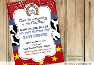 Cowboy themed Baby Shower Invitations Starlite Printables Invitations Stationery Cowboy
