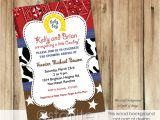 Cowboy themed Baby Shower Invites Starlite Printables Invitations Stationery Cowboy