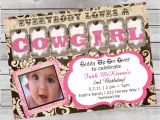 Cowgirl 1st Birthday Invitations Cowgirl Birthday Invitation 1st Birthday or by
