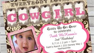 Cowgirl 1st Birthday Invitations Cowgirl Birthday Invitation 1st Birthday or by