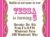 Cowgirl Birthday Invitations Templates Cowgirl Birthday Party Invitation