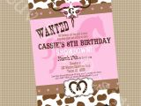 Cowgirl Party Invitation Wording Cowgirl Birthday Party Printable Invite Printable by