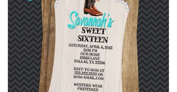 Cowgirl Quinceanera Invitations Aqua Rustic Western Cowgirl Quinceanera Invitations