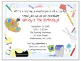 Craft Birthday Party Invitations Arts and Crafts Birthday Party Invitations Arts and