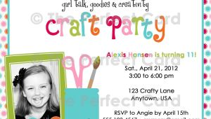 Craft Birthday Party Invitations Girl Talk Craft Party Birthday Invitation