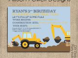 Crane Party Invitations Construction Back Hoe Digger Crane Birthday Party
