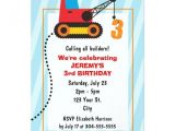 Crane Party Invitations Construction Crane 3rd Birthday Personalized Announcements