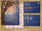 Cranes Wedding Invitations Paper Crane Wedding Invitation Peach and Navy