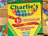 Crayola themed Party Invitations Crayon Birthday Invitation Crayon Party Invitation Crayola