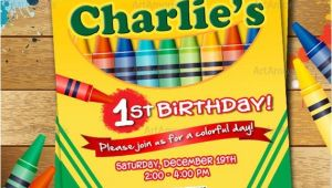Crayola themed Party Invitations Crayon Birthday Invitation Crayon Party Invitation Crayola