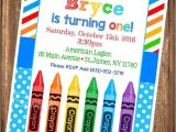 Crayola themed Party Invitations Crayon Birthday Invitation Painting Party Birthday