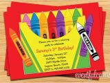 Crayola themed Party Invitations Crayon Birthday Party Invitation for Kids