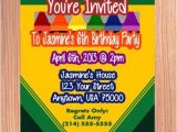 Crayola themed Party Invitations Crayon Invitation Crayon Birthday Invitation Crayon Box