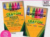 Crayon Birthday Party Invitations Crayola Crayon Birthday Invitation Crayon Invite Crayon