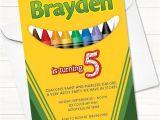 Crayon Birthday Party Invitations Crayola Crayon Birthday Invitation Digital File Printable