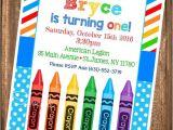 Crayon Birthday Party Invitations Crayon Birthday Invitation Painting Party Birthday