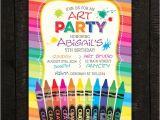 Crayon Birthday Party Invitations Crayon Invitation Art Invitation Paint Invitation Kids