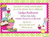 Cupcake Party Invitation Wording Sugar Shoppe Baby Shower Invitation Cupcake Sweet Candy