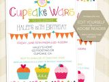Cupcake Wars Birthday Party Invitations Cupcake Wars Invitation Cupcake Wars Birthday Cupcake Wars
