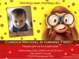 Curious George 2nd Birthday Invitations Curious George Birthday Party Invitations Bagvania Free