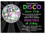 Custom Disco Party Invitations Disco Ball Neon Invitation Printable or Printed with Free