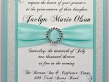 Custom Made Quinceanera Invitations Aqua Quinceanera Sweet 16 Invitation Full Of Bling