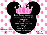 Custom Minnie Mouse Baby Shower Invitations Minnie Mouse Princess Baby Shower Invitation Printed with