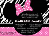 Custom Minnie Mouse Baby Shower Invitations Pink Zebra Minnie Mouse Baby Shower Invitation Custom