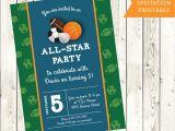 Custom softball Birthday Invitations Custom All Star Sports Birthday Party Invitation Boys athlete