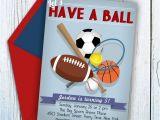Custom softball Birthday Invitations Custom Sports Birthday Invitation Sports Birthday Party