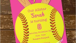 Custom softball Birthday Invitations softball Invitation Birthday Invitation softball Invite