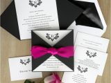Custom thermography Wedding Invitations Initial Invitation with Folded Wrap thermography Wedding