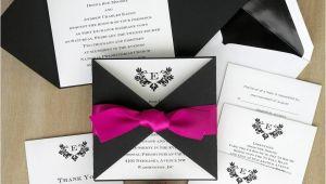 Custom thermography Wedding Invitations Initial Invitation with Folded Wrap thermography Wedding