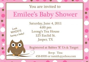 Customizable Baby Shower Invites 20 Personalized Baby Shower Invitations Pink Baby Owl