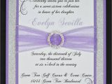 Customize Quinceanera Invitations Lilac and Silver Glitter Quinceanera or Wedding Invitation