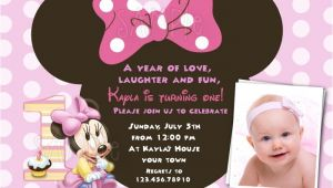Customized Minnie Mouse First Birthday Invitations Free Download Minnie Mouse 1st Birthday Invitations