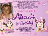 Customized Minnie Mouse First Birthday Invitations Minnie Mouse 1st Birthday Invitations Printable Digital File
